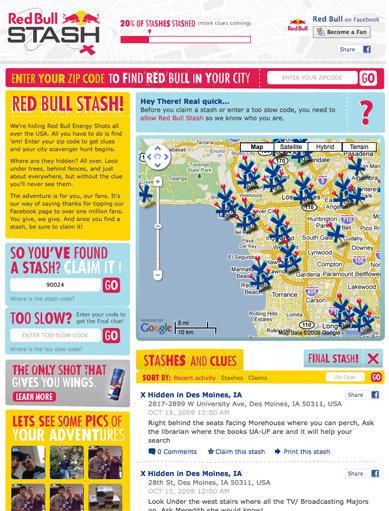Screenshot of Red Bull Stash