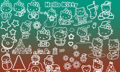 Hello Kitty Christmas Brushes-christmas in The Ultimate Christmas Round-Up: Patterns, Brushes, Vectors and Fonts