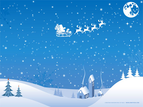 Wallpaper-blue-santa-and-sleigh in Beautiful Christmas and Winter Wallpapers For Your Desktop