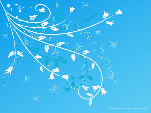 Wallpaper-blue-swirls-flowers-snowflakes in Beautiful Christmas and Winter Wallpapers For Your Desktop