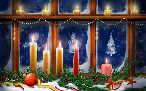 Wallpaper-christmas-candles-in-window in Beautiful Christmas and Winter Wallpapers For Your Desktop