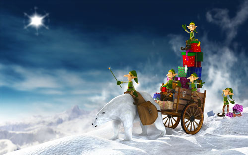 Wallpaper-christmas-sleigh-elves in Beautiful Christmas and Winter Wallpapers For Your Desktop