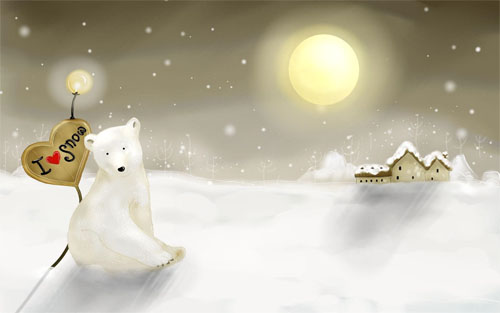 Wallpaper-winter-landscape-polar-bear-snow in Beautiful Christmas and Winter Wallpapers For Your Desktop
