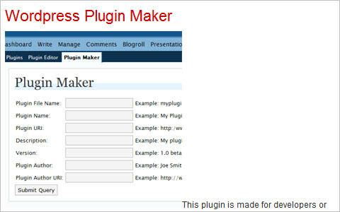 Wordpress Plugin Maker
