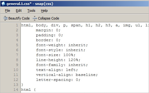 snap{css}: an open-source CSS editor for Windows
