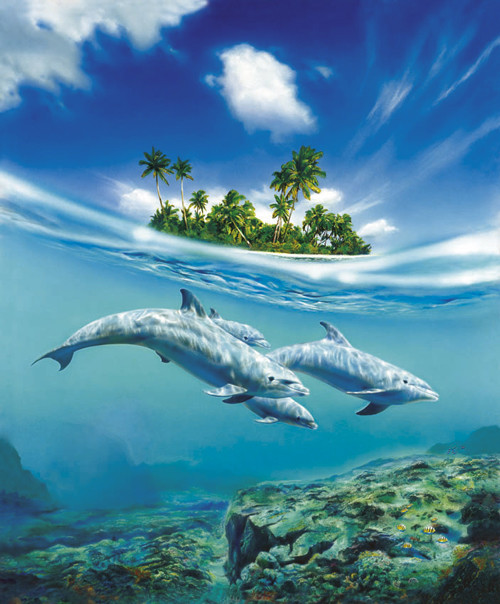 DOLPHIN family Famous Dolphin Painting