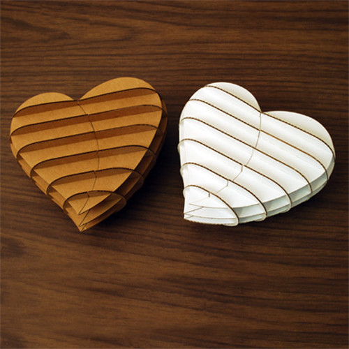Heart Gift Box Brown and White