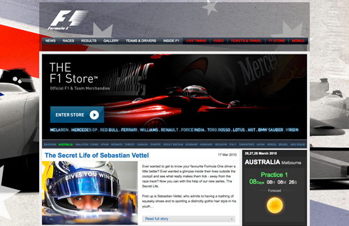 Showcase Of Formula 1 Website Designs