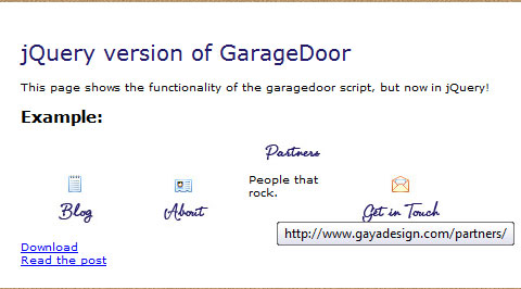 jQuery convertion: Garagedoor slider navigation effect