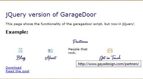 jQuery convertion: Garagedoor slider navigation effect