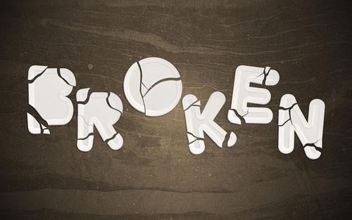 Create an awesome broken plate typography effect