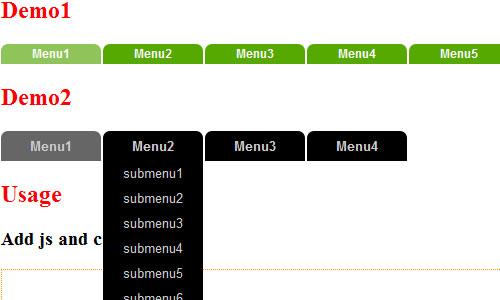 jQuery Multicolor animation drop down navigation menu
