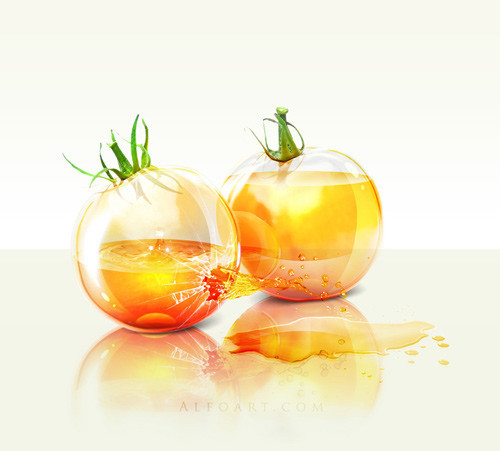 Create Realistic Glossy Glass Tomatoes