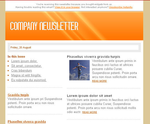 Free HTML Newsletter Templates Noupe - Newsletter format template