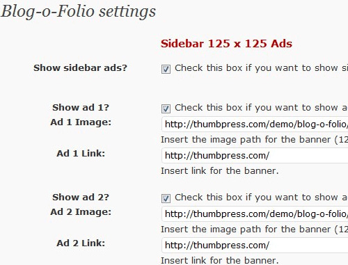 Blog-O-Folio Admin Settings Page