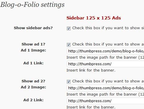 Blog-O-Folio Admin Settings Page