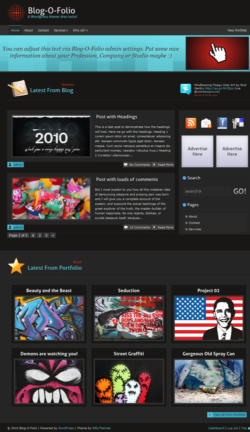 Blog-O-Folio Main Page