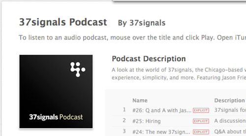 37signals in Designing the Airwaves: Podcasts Part in Design