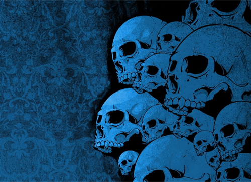 Blue-skull in Grungy Wallpaper and Resource Goldmine