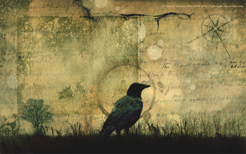 Crow in Grungy Wallpaper and Resource Goldmine