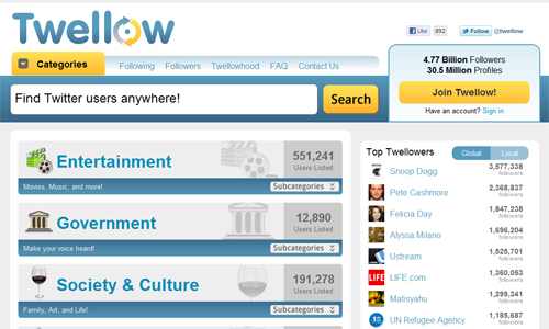 Twellow in A Roundup of Valuable Twitter Tools