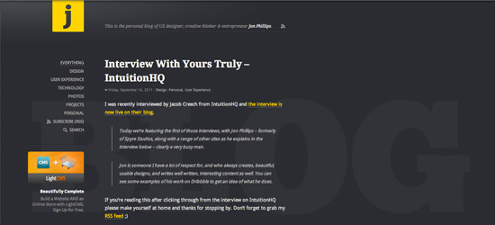 Jon Phillips blog design