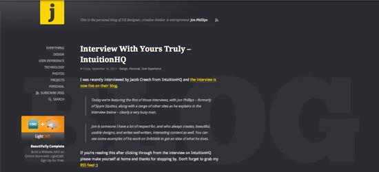 Jon Phillips blog design