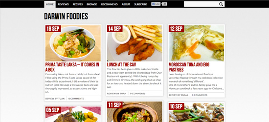 Darwin Foodies blog design