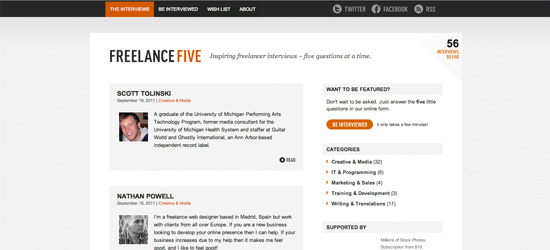 Freelance Five blog design
