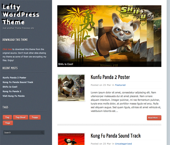 Lefty WordPress Theme