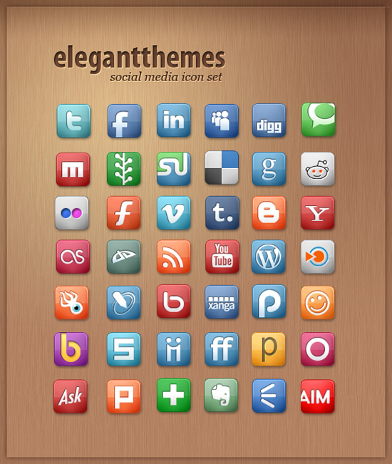 ElegantThemes Free Social Media Icon Set