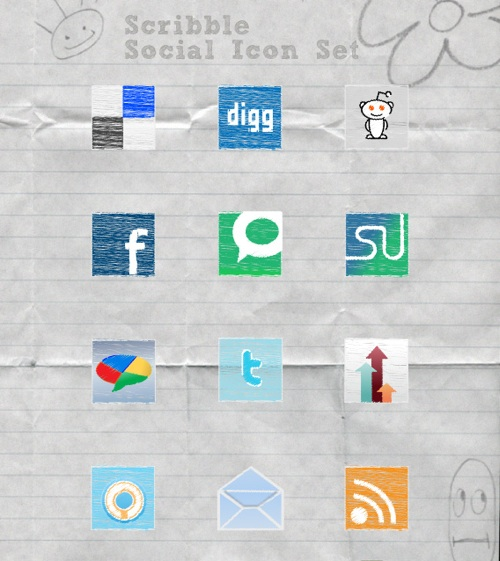Exclusive Scribble Social Media Icon Set and Tutorial