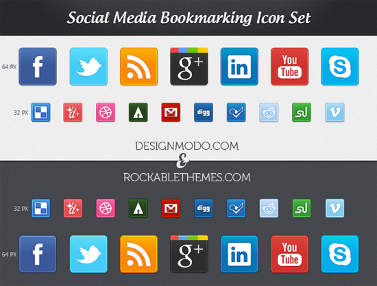 Free Social Media Bookmarking Icon Set