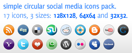 Social Media Icons Pack in 3 Sizes for Download