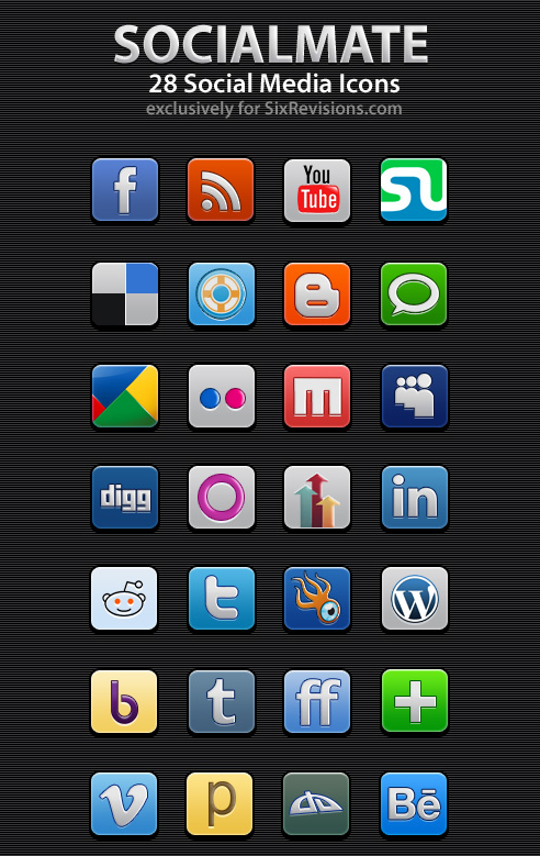 SocialMate: 28 Free Social Media Icons (Includes PSDs)