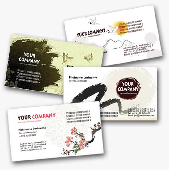 50 free photoshop business card templates the jotform blog 4 asian inspired personal business cards templates wajeb Gallery