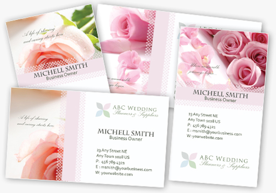 4 Elegant Wedding Business Card Templates in PSD