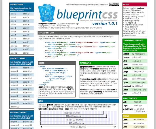BlueprintCSS Cheat Sheet
