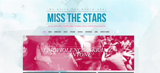 Miss the Stars website design