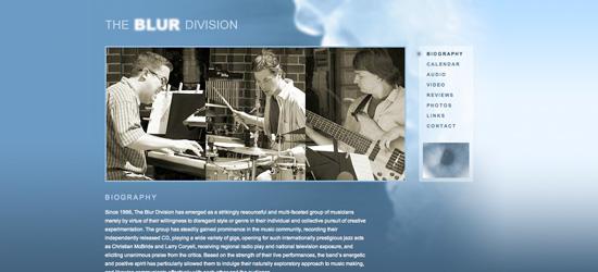 The Blur Division website design