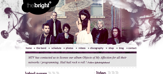 The Bright Music website design