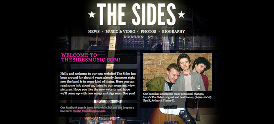 The Sides website design