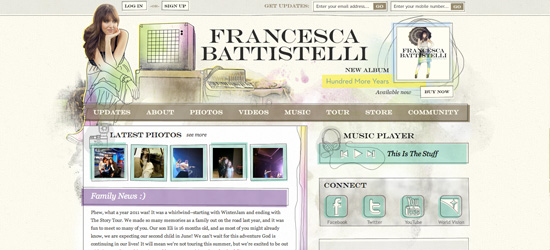 Francesca Battistelli website design