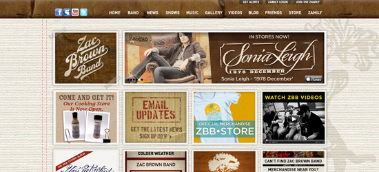 Zac Brown Band website design