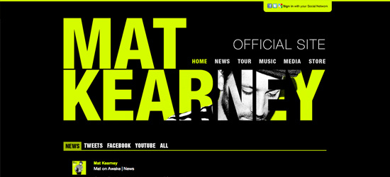 Mat Kearney website design