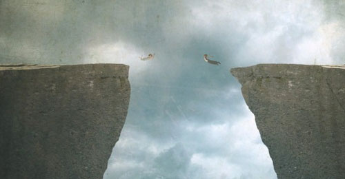 Create a Conceptual Image of a Couple Jumping from High Cliffs