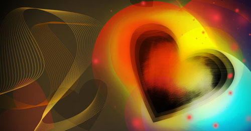 Create Colorful Valentine's Day Card With Shining Heart