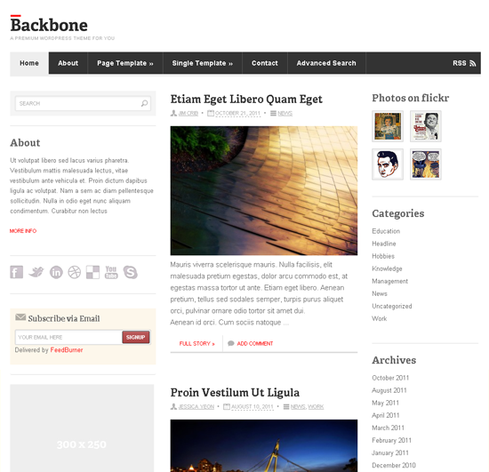 Backbone WordPress Theme Framework