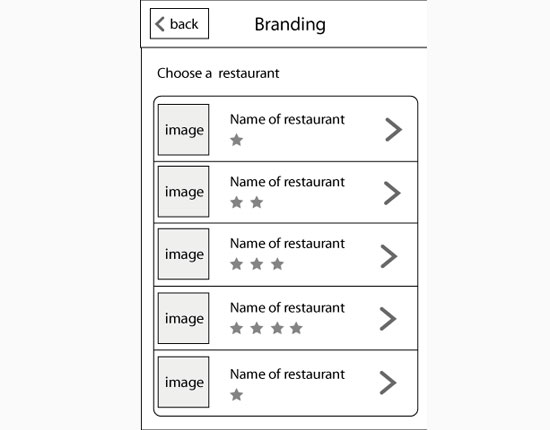 Choose a restaurant wireframe