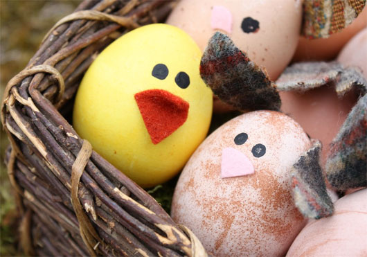 Chicks and bunnies out of Easter eggs